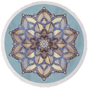 Blue And White Mandala Round Beach Towel