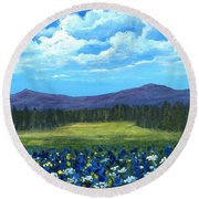 Round Beach Towel featuring the painting Blue Afternoon by Anastasiya Malakhova