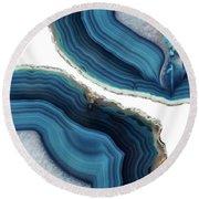 Blue Agate Round Beach Towel