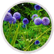 Blue Allium Flowers Round Beach Towel