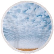 Blue And Amber Round Beach Towel