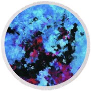 Round Beach Towel featuring the painting Blue And Black Abstract Wall Art by Ayse Deniz