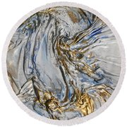 Blue And Gold 3 Round Beach Towel