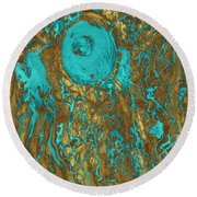 Blue And Gold Abstract Round Beach Towel