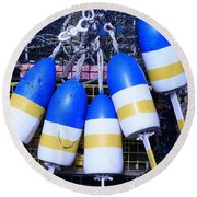Blue And Gold Bouys Round Beach Towel