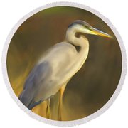 Blue And Gold  Round Beach Towel by Don Wright