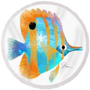 Blue And Gold Fish Round Beach Towel