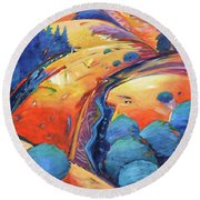 Blue And Gold Round Beach Towel by Gary Coleman
