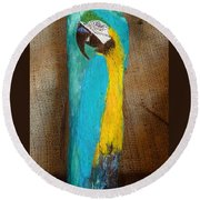 Blue And Gold Macaw Round Beach Towel by Ann Michelle Swadener