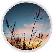 Blue And Gold Sunset Round Beach Towel