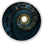 Round Beach Towel featuring the photograph Blue And Golden Spiral Staircase by Jaroslaw Blaminsky