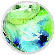 Blue And Green Abstract - Land And Sea - Sharon Cummings Round Beach Towel by Sharon Cummings