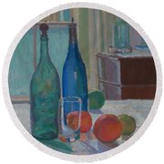 Blue And Green Bottles And Oranges Round Beach Towel