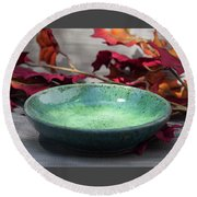 Blue And Green Shallow Bowl Round Beach Towel