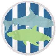 Blue And Green Sharks- Art By Linda Woods Round Beach Towel