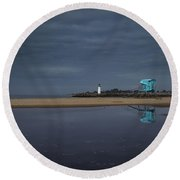 Blue And Grey Round Beach Towel