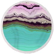 Blue And Lavender Round Beach Towel