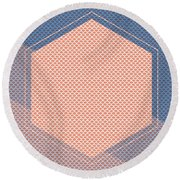 Blue And Orange Abstract Hexagon Round Beach Towel