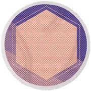 Blue And Orange Scallop Hexagon Round Beach Towel
