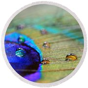Blue And Orange Water Drops Round Beach Towel