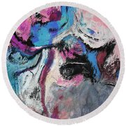 Round Beach Towel featuring the painting Blue And Pink Abstract Painting by Ayse Deniz