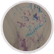 Round Beach Towel featuring the drawing Blue And Purple Cat by AJ Brown