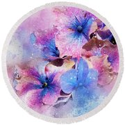 Blue And Purple Flowers Round Beach Towel by Judi Saunders