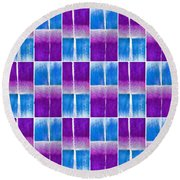 Blue And Purple Pattern Round Beach Towel by Patricia Strand