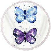 Butterflies Blue And Purple  Round Beach Towel