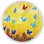 Blue And Red Butterflies Round Beach Towel by Haleh Mahbod