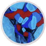 Blue And Red Round Beach Towel