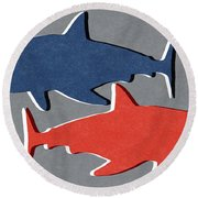 Blue And Red Sharks Round Beach Towel by Linda Woods