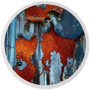 Round Beach Towel featuring the photograph Blue And Rust by Karol Livote