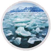 Round Beach Towel featuring the photograph Blue And Turquoise Ice Jokulsarlon Glacier Lagoon Iceland by Matthias Hauser