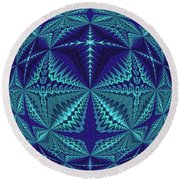 Blue And Turquoise Symmetrical Pattern, Kaleidoscope Round Beach Towel by Ernst Dittmar