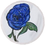 Blue And Wet, Rose Round Beach Towel