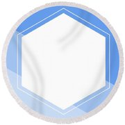 Blue And White Abstract Hexagon Round Beach Towel
