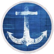 Round Beach Towel featuring the mixed media Blue And White Anchor- Art By Linda Woods by Linda Woods