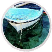 Blue And White Fishing Boat On The Adriatic - Rovinj, Croatia Round Beach Towel