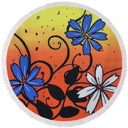 Blue And White Flowers Round Beach Towel