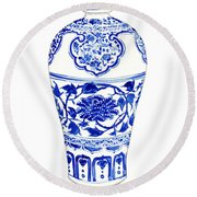 Blue And White Ginger Jar Chinoiserie 3 Round Beach Towel