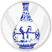 Blue And White Ginger Jar Chinoiserie 7 Round Beach Towel