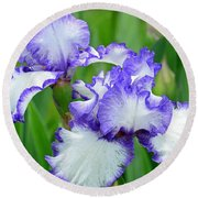 Round Beach Towel featuring the photograph Blue And White Iris by Rodney Campbell