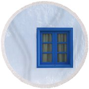 Blue And White Round Beach Towel
