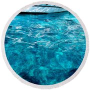 Blue And White Round Beach Towel by Mike Ste Marie