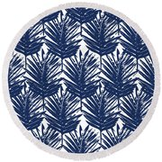 Blue And White  Palm Leaves 3 - Art By Linda Woods Round Beach Towel