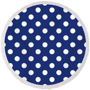 Round Beach Towel featuring the mixed media Blue And White Polka Dots- Art By Linda Woods by Linda Woods