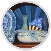 Blue And White Porcelain Ware Round Beach Towel