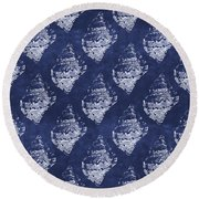 Blue And White Seashells 1- Art By Linda Woods Round Beach Towel