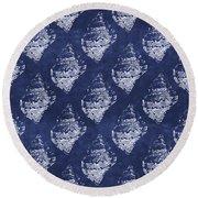 Blue And White Seashells 1- Art By Linda Woods Round Beach Towel